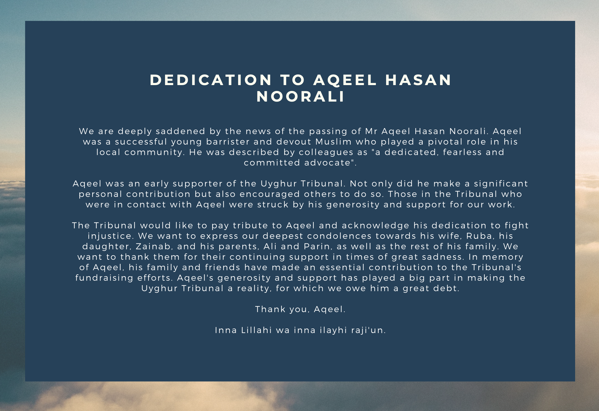 Dedication to Aqeel Hasan Noorali